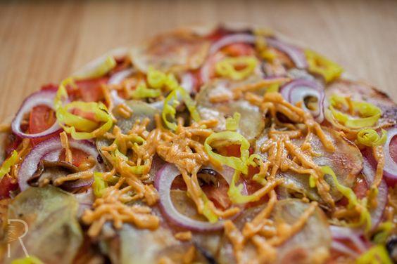 #Vegan Daiya Cheddar-style shred oven-baked Yukon Gold potato slice, red onion, peperoncini and shiitake mushrooms. It goes with a fresh pizza dough.