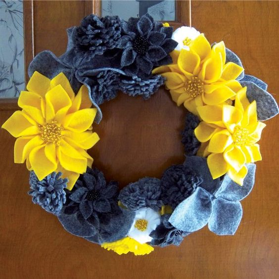 Yellow and Grey Felt Flower Wreath by kristink64 on Etsy