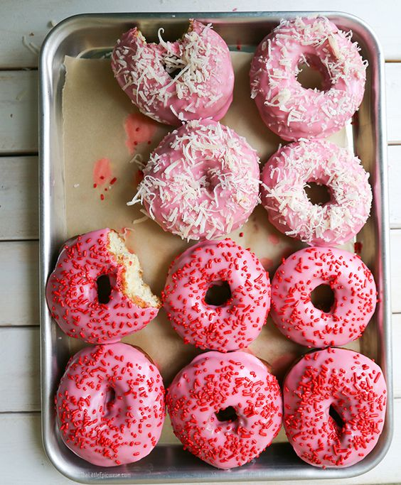 PINK VALENTINE CAKE DOUGHNUTS: Pink Donuts, Valentine Cake, Cake Donuts, Cake Doughnuts, Valentines Day, Pink Valentine, Pink Doughnuts
