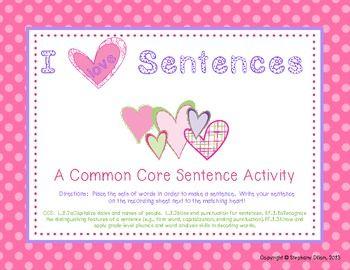 freebie valentine 39 s sentence unscramble i love sentences pinterest. Black Bedroom Furniture Sets. Home Design Ideas