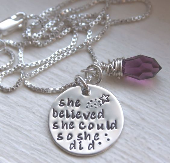 She Believed She Could So She Did Hand Stamped Personalized Necklace Sterling Silver Inspirational Jewelry