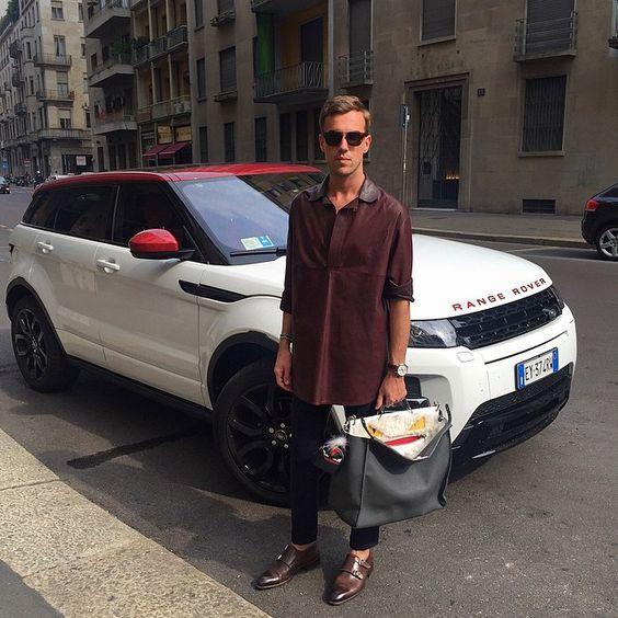 MFW day 3: around Milan with Range Rover Evoque SD4 ❤️ @landroveritalia #men #fashion #style #leather