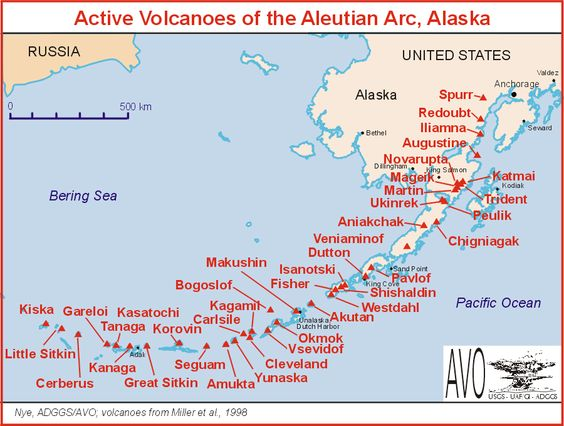 Map Of Active Volcanoes Of The Alutian Arc Alaska Volcanoes - Map active volcanos in us