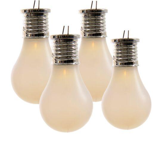 LED Solar 4er Set Glühbirnen leuchtende Glühlampen warmweiß Gartendeko