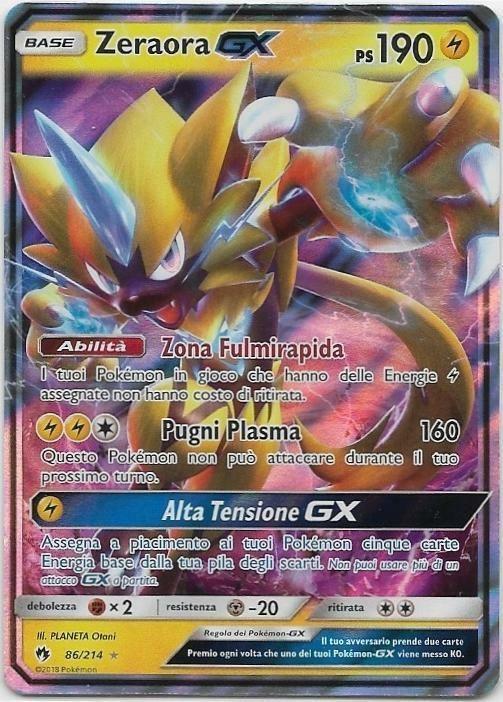 Pokemon Zeraora Gx 86 214 Rara Holo Tuoni Perduti The Real Deal
