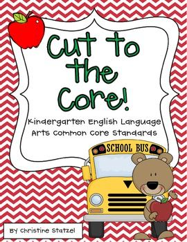 This freebie is a set of the Kindergarten grade Common Core language arts standards. Print this out and keep it in your teacher binder or on a clipboard so you can refer to it throughout the year!