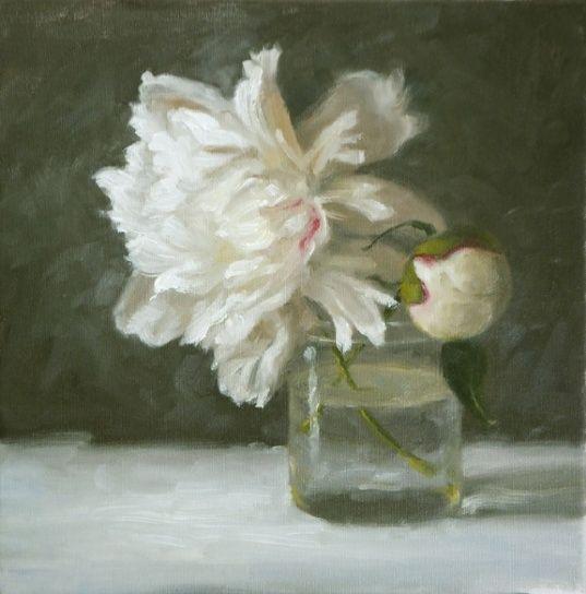 white peonies glass jar oil painting