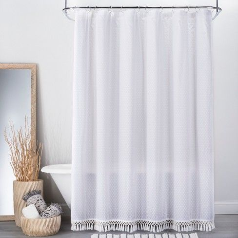 textured dot fringed shower curtain