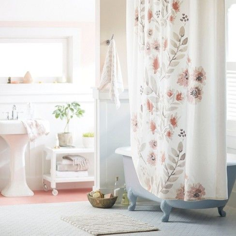 Blooms Flat Weave Shower Curtain Coral Threshold Pretty