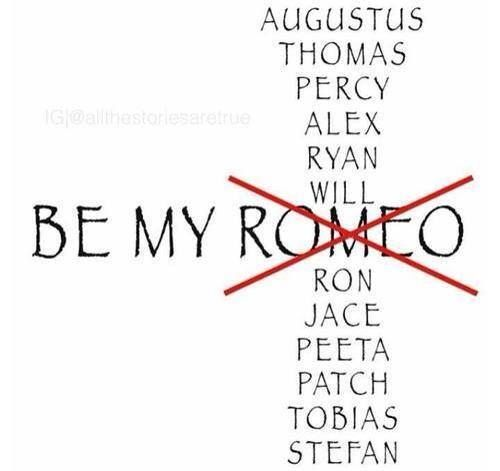 Be my Percy (Percy Jackson and the Olympians), Alex (Delirium Series), Will (Infernal Devices), JACE (The Mortal Instruments), Peeta (The Hunger Games Trilogy), Patch (Hush, Hush Series), or Tobias (Divergent Trilogy)! These are my picks but honestly, Jace is my number one.