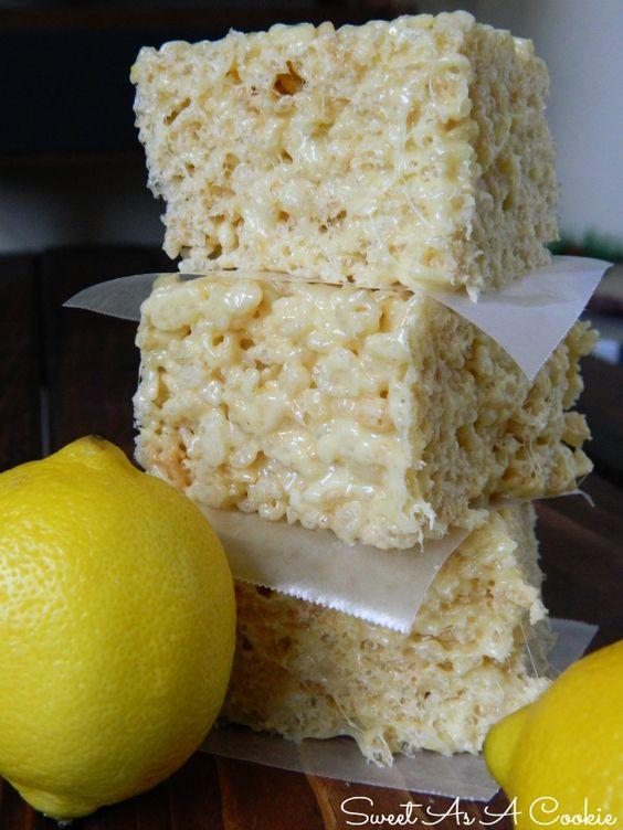 Lemon Supreme Rice Kripsies Treats   A delicious rice krispies treat jam packed with lemon flavor