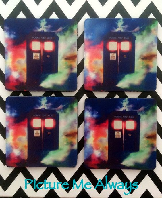 Doctor Who Tardis Inspired Coasters by PicMeAlwaysDesigns on Etsy, $15.00