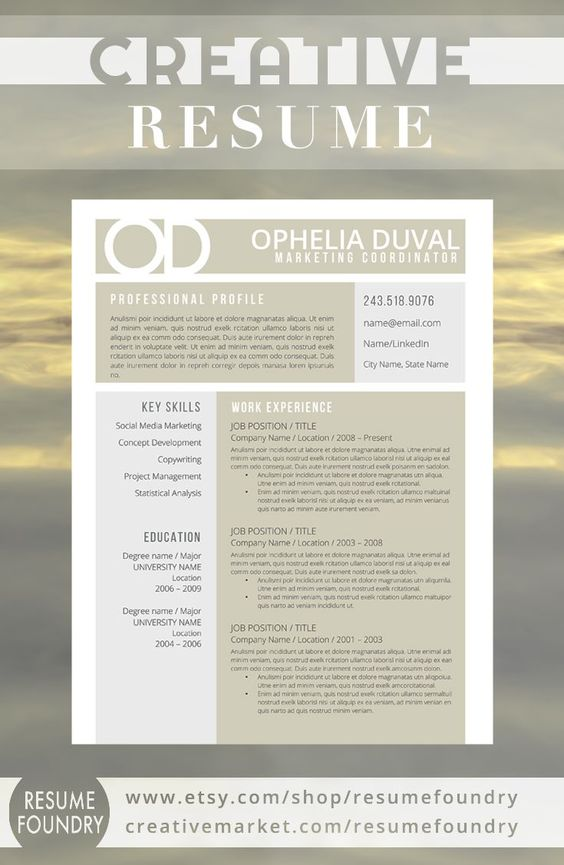Creative Resume Template   CV Template + Cover Letter for - Word Resume Template Mac