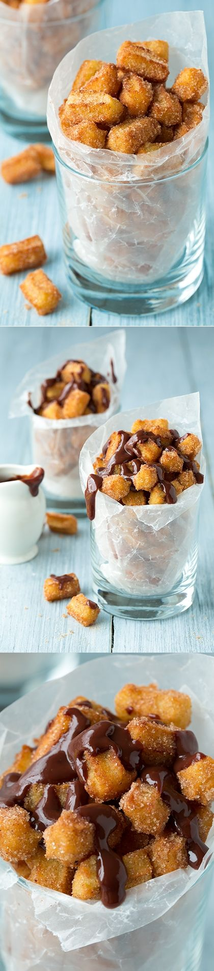 Churro Bites - With optional chocolate sauce. Everything is better when it's bite size.