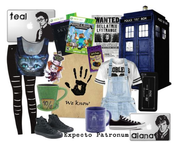 """""""Teal and Alana"""" by alana221 ❤ liked on Polyvore featuring Disney, H&M, INC International Concepts and Converse"""