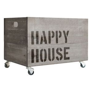 Caisse de rangement à roulettes Happy House en bois, gris et noir  50 x 35 x 32…