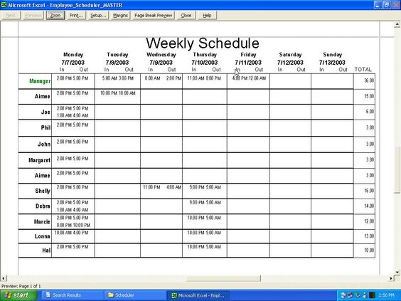 Weekly Employee Schedule Template Excel  Ideas For The House