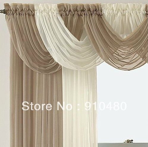 Luxury sheer curtain valance waterfall swag valance w 60 for Sheer panel curtain ideas