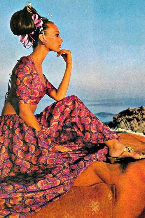 Marisa Berenson in a harem dress by Savita, photo by Henry Clarke in Sardinia for Vogue, 1968
