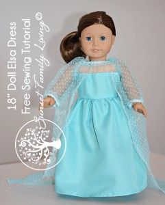"Sew an Elsa dress for an 18"" doll -- free sewing pattern"