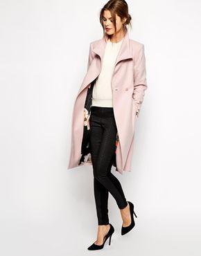 Enlarge Ted Baker Belted Wrap Coat in Pale Pink
