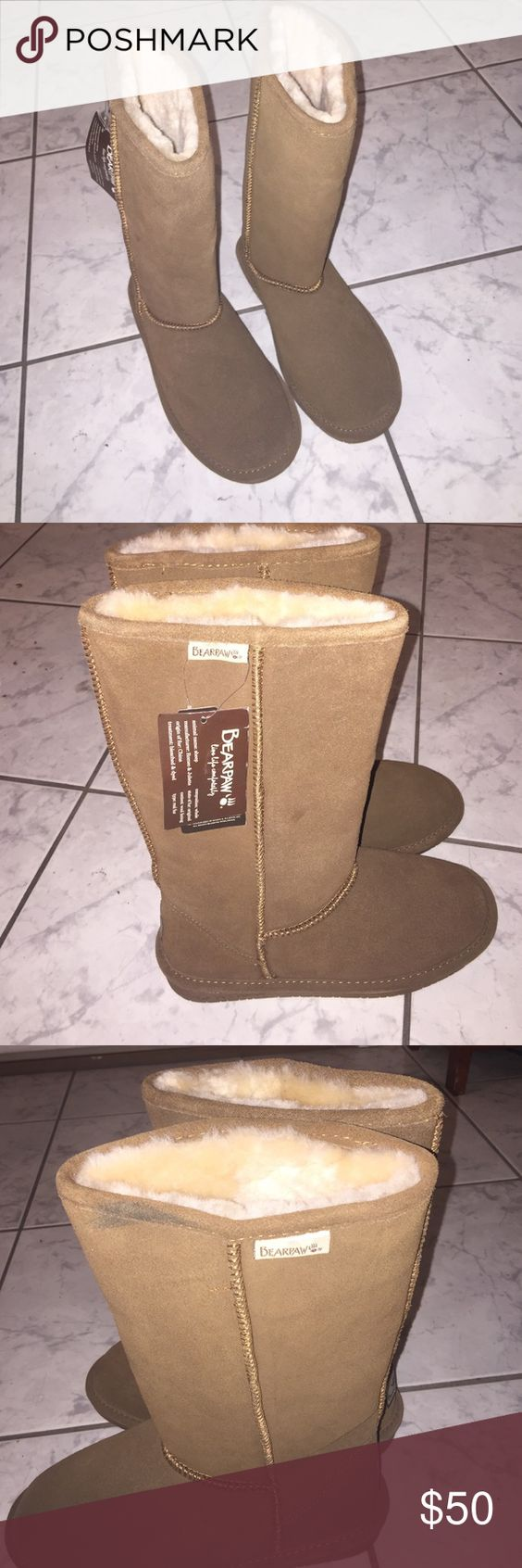 Bearpaw boots Brand new with tags. Never worn. There is a dirty spot as pictures but I'm sure it comes off. Size 8. I have too many boots. Cleaning out items I never used BearPaw Shoes Winter & Rain Boots