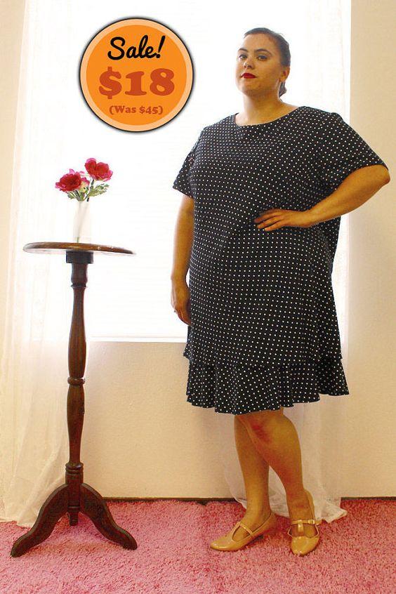 CLEARANCE  Plus Size  Vintage Black & White Polka by TheCurvyElle, $18.00