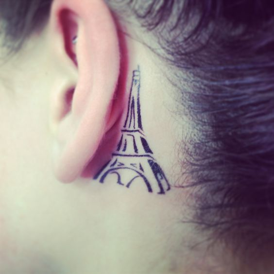 My Eiffel Tower tattoo! Behind the left ear. (::