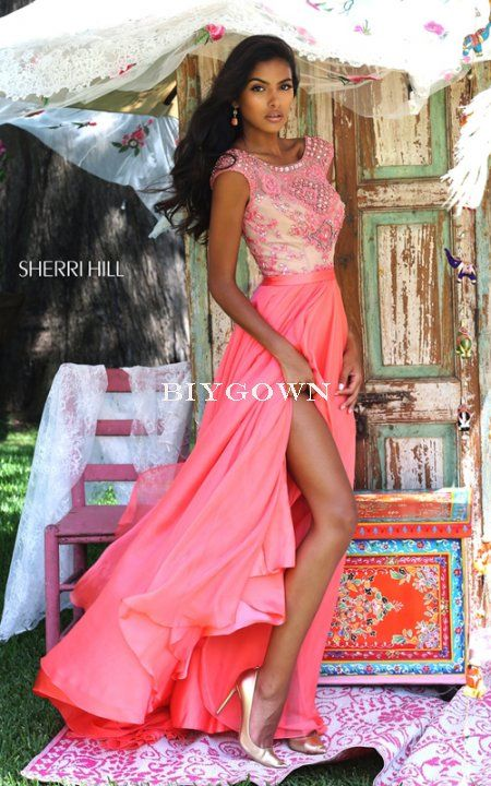 Coral 2016 Sherri Hill 11332 Beaded Sleeves Prom Dress