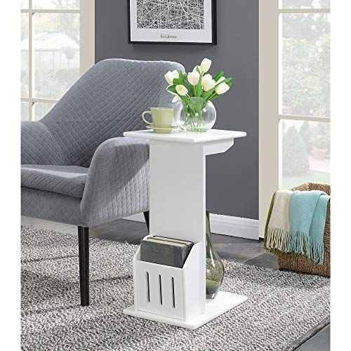 Wooden C Shaped Side Table White Magazine Rack Holder C Shape Tray Modern Wood Sofa Couch End Tabletop End Tables Furniture
