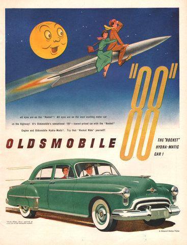 1950 Oldsmobile 88 car print ad Rocket engine green by Vividiom, $8.00