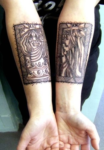 Of  course I love this!  I have my own Tarot card tat!  High Priestess  The Hermit tarot cards