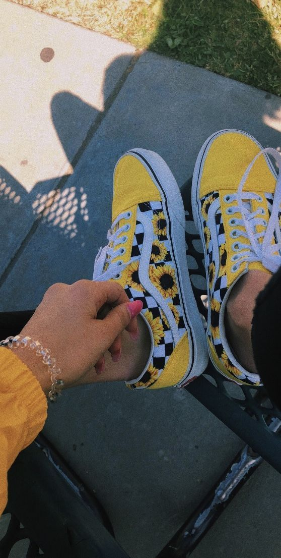 yellow sunflower vans   Nice shoes