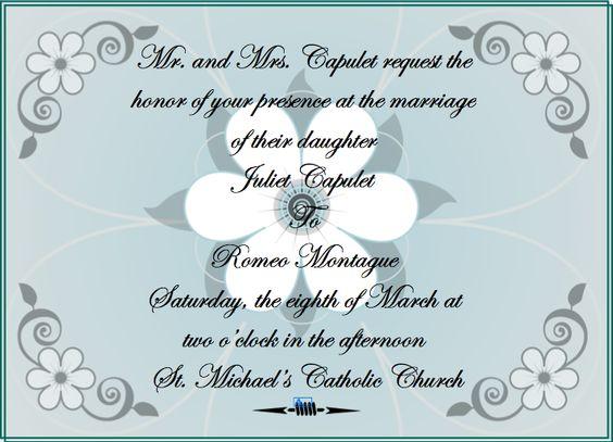 Romeo And Juliet Wedding Invitations: Invitation To Romeo And Juliet's Wedding Given To The