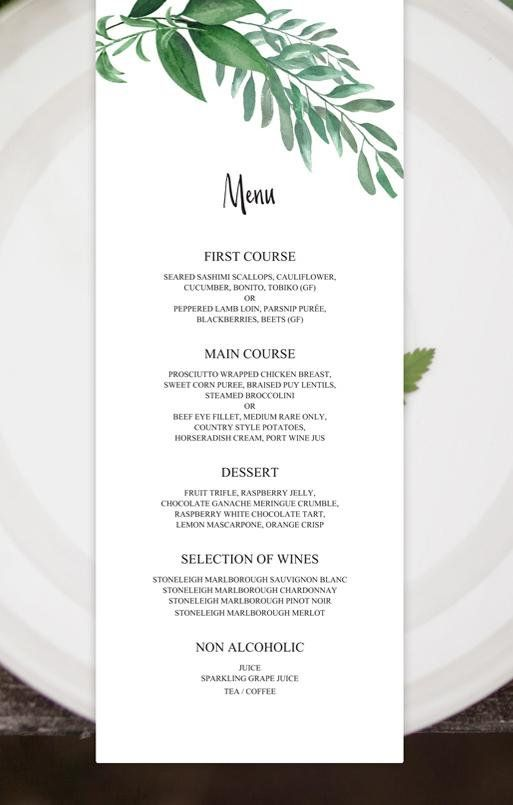 Greenery Wedding Menu Template Green Leaf Menu Cards For Wedding Printable Menu Cards Wedding Dinner Menu Printable Menu Template Download Wedding Menu Wedding Menu Template Free Wedding Planning Checklist
