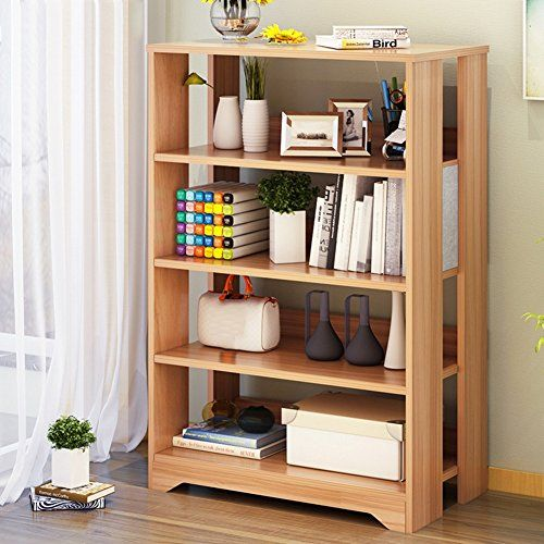 Qiangda Multifunction Bookshelf Light Walnut Bookcase Floor Bookrack Storge Cabinet Commodity Shelf Storage Displ Walnut Bookcase Bookcase Living Room Bookcase