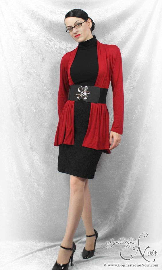 red, purple or gray cardi over an infinite variety of black bases