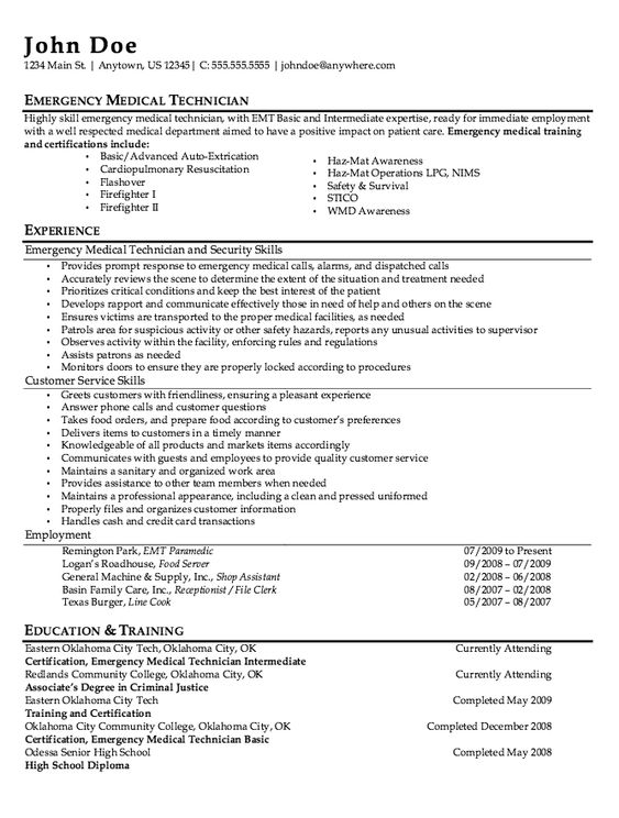 EMT Job Description - http\/\/resumesdesign\/emt-job-description - concierge resume