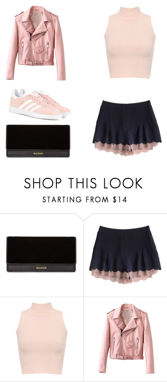 """""""Untitled #20"""" by ni-ky ❤ liked on Polyvore featuring Balmain, WearAll and adidas Originals"""