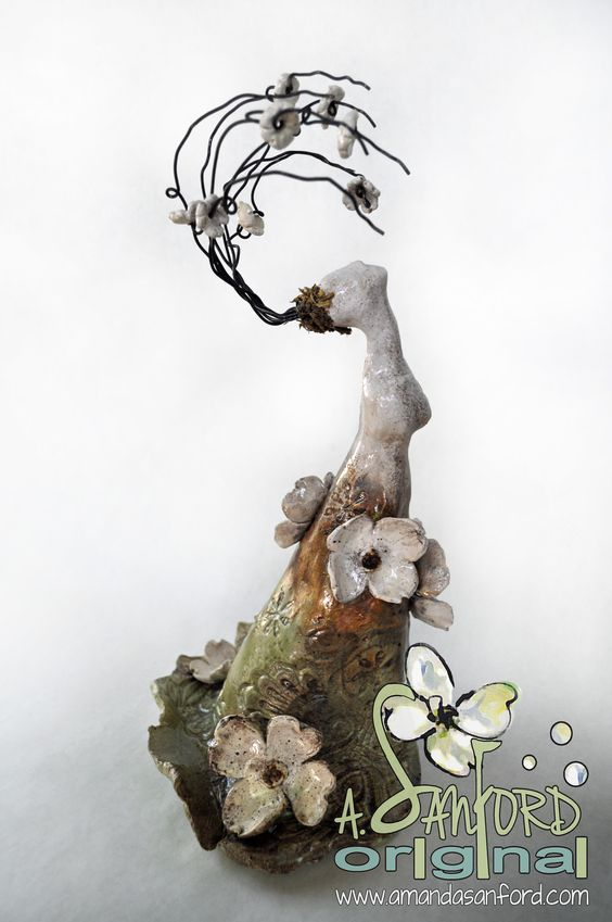 Mississippi Pottery Sculpture Mother Nature Dogwood Magnolia Flower Woman Figure