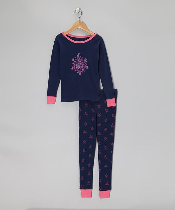 Look at this #zulilyfind! Navy Shooting Star Pajama Set - Girls by Leveret #zulilyfinds