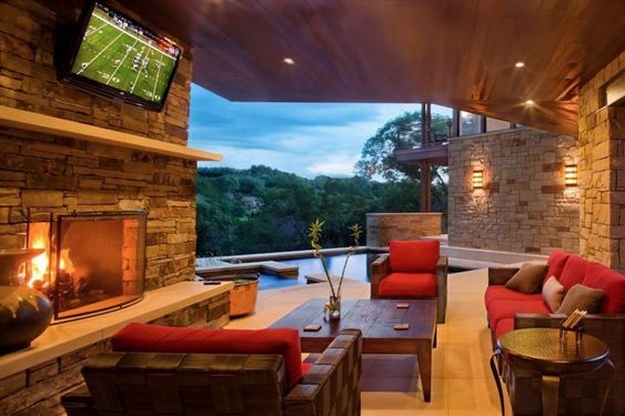 Contemporary Natural Stone Wall Combined Wooden Furniture Living Room with Great View