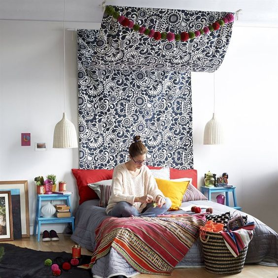 Make your own travel inspired bed canopy from ikea fabric for Build your own canopy bed