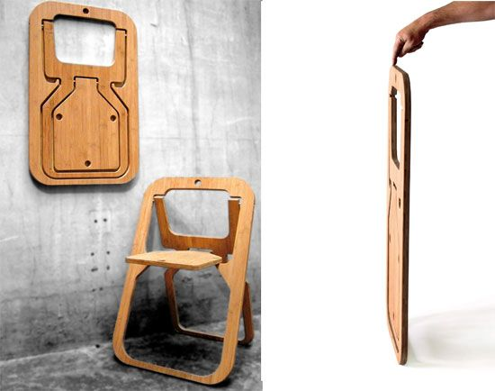 Desile chair folds flat into a 20mm thick sheet Folding chairs