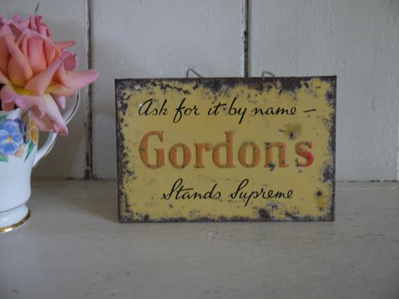 Vintage Tin Sign - Gordon's Gin by VintiqueTree on Etsy