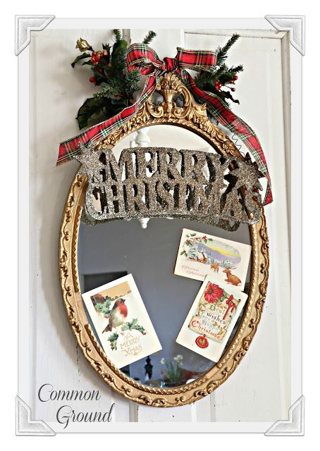 common ground Christmas mirror with Tartan plaid ribbon