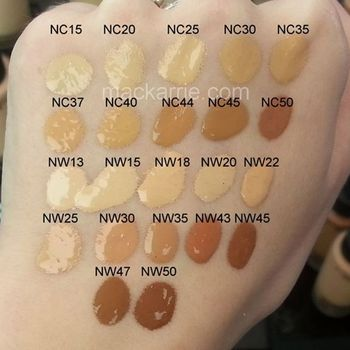MAC Studio Waterweight Foundation SPF 30 swatches