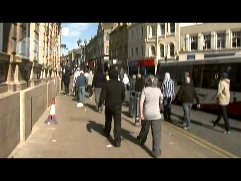 English Defence League chase Muslims in Dewsbury - YouTube