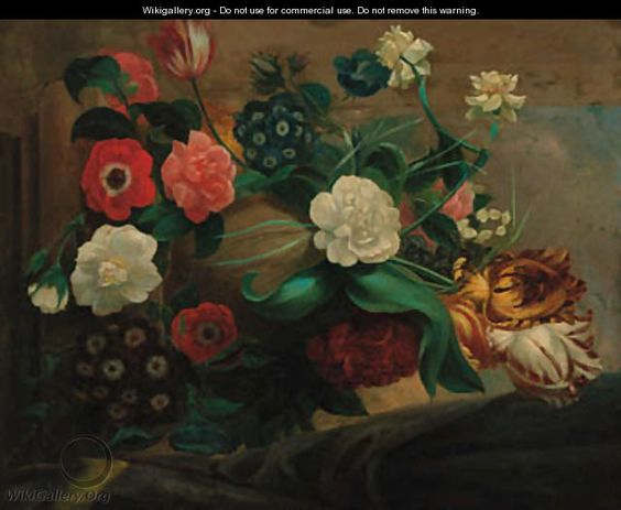 Parrot tulips, anemonies, narcissae, convulvulae, auriculars, rosebuds and other flowers in an urn on a stone ledge - Godfried Schalcken