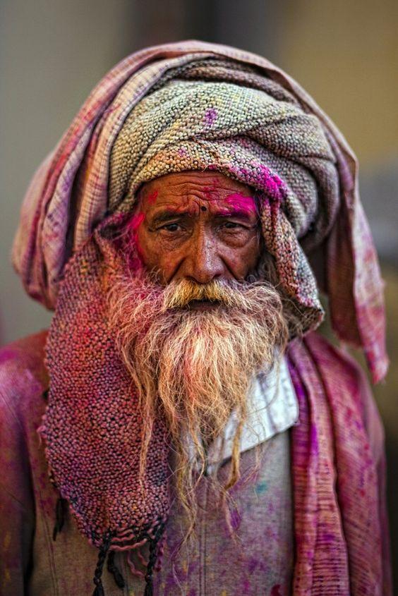 Holi festival - by Antonio Gibotta - Traveler Photo Contest 2013 - National Geographic (people, portrait, beautiful, photo, picture, amazing, photography, man, beard, turban)